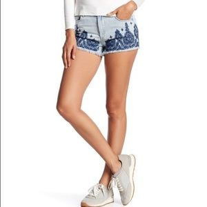 Blank NYC Embroidered Wedge Denim Shorts